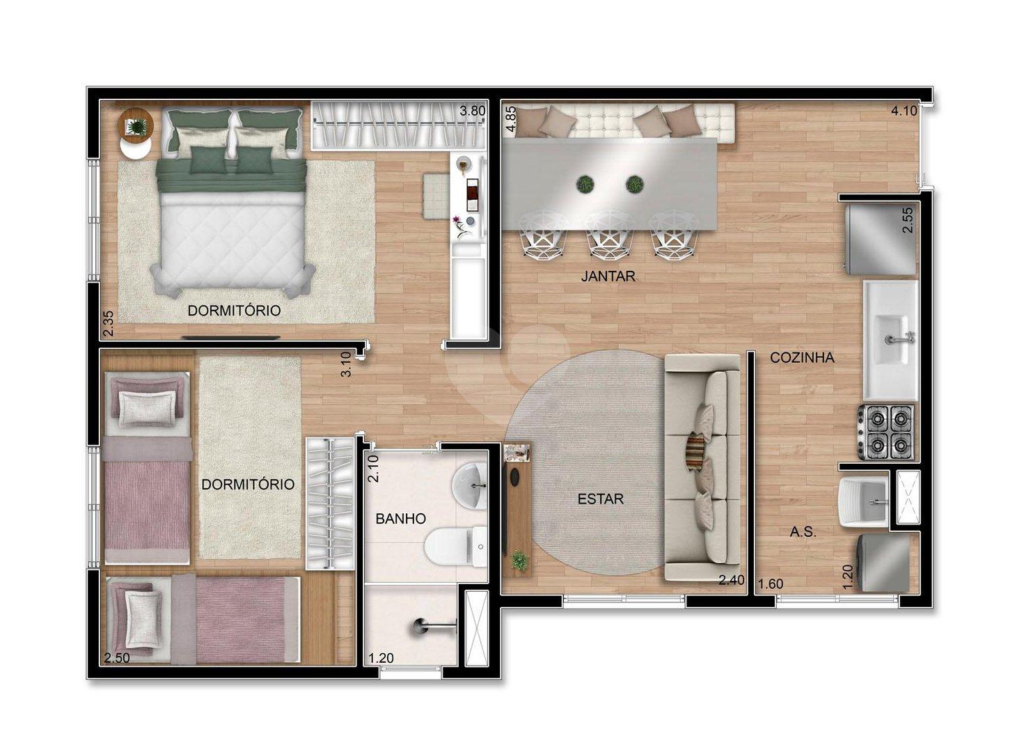 Apartamento 44m²
