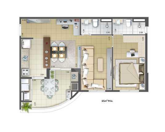 Apartamento 65m²