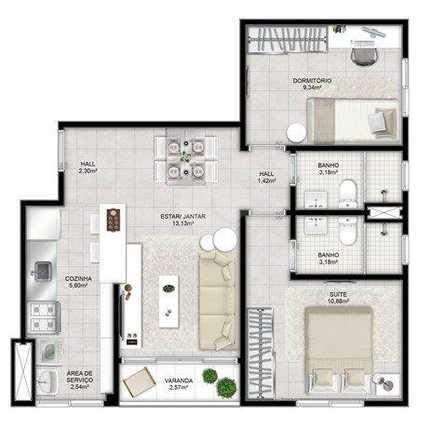 Apartamento 54m²