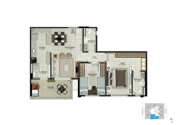 Apartamento 82m²