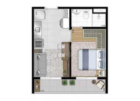 Apartamento 28m²