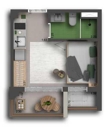 Apartamento 20m²