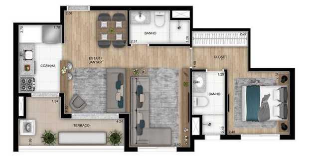Apartamento 55m²