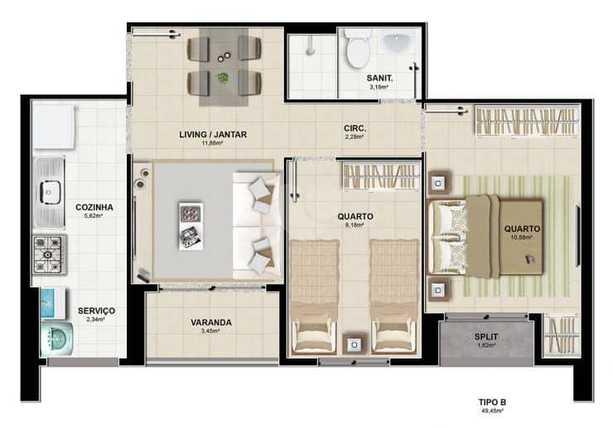 Apartamento 49m²