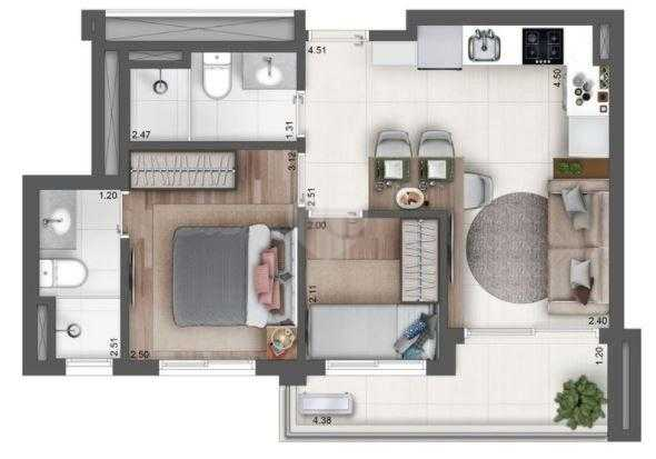 Apartamento 46m²