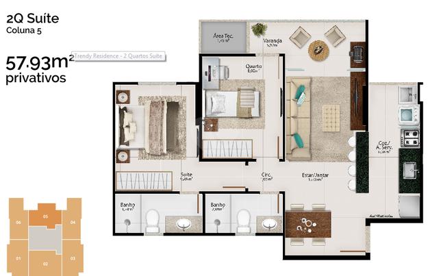 Apartamento 57m²