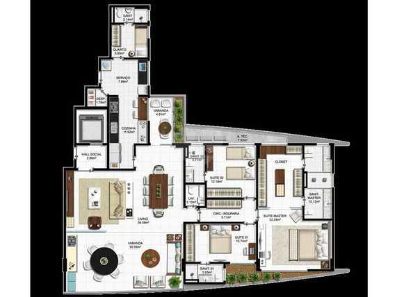 Apartamento 203m²